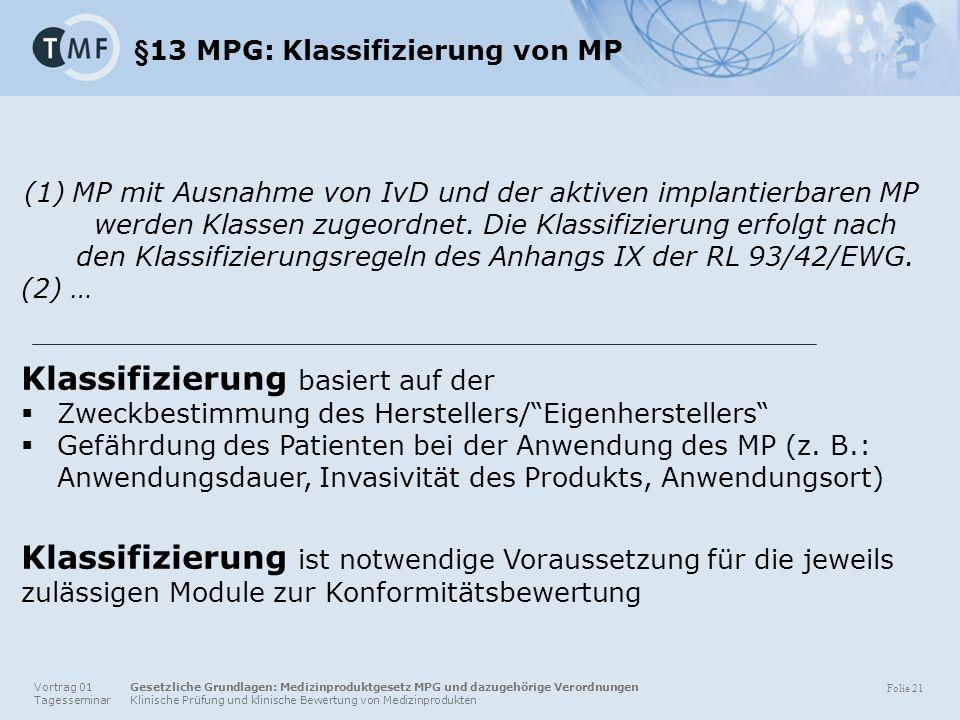 Vortrag 01 Gesetzliche Grundlagen: Medizinproduktgesetz MPG und dazugehörige Verordnungen Tagesseminar Klinische Prüfung und klinische Bewertung von Medizinprodukten Folie 21 §13 MPG: Klassifizierung von MP (1)MP mit Ausnahme von IvD und der aktiven implantierbaren MP werden Klassen zugeordnet.