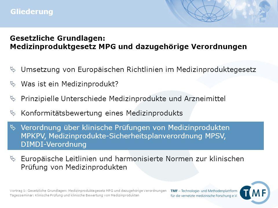 Vortrag 1: Gesetzliche Grundlagen: Medizinproduktegesetz MPG und dazugehörige Verordnungen Tagesseminar: Klinische Prüfung und klinische Bewertung von