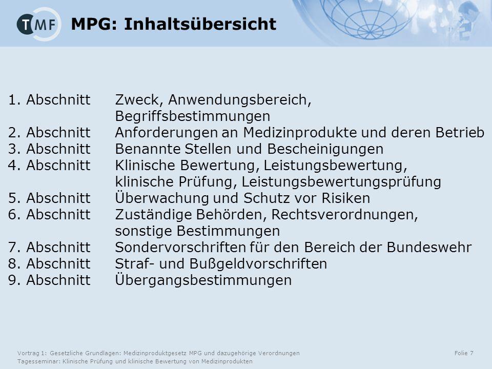 Vortrag 1: Gesetzliche Grundlagen: Medizinproduktgesetz MPG und dazugehörige Verordnungen Tagesseminar: Klinische Prüfung und klinische Bewertung von Medizinprodukten Folie 7 1.