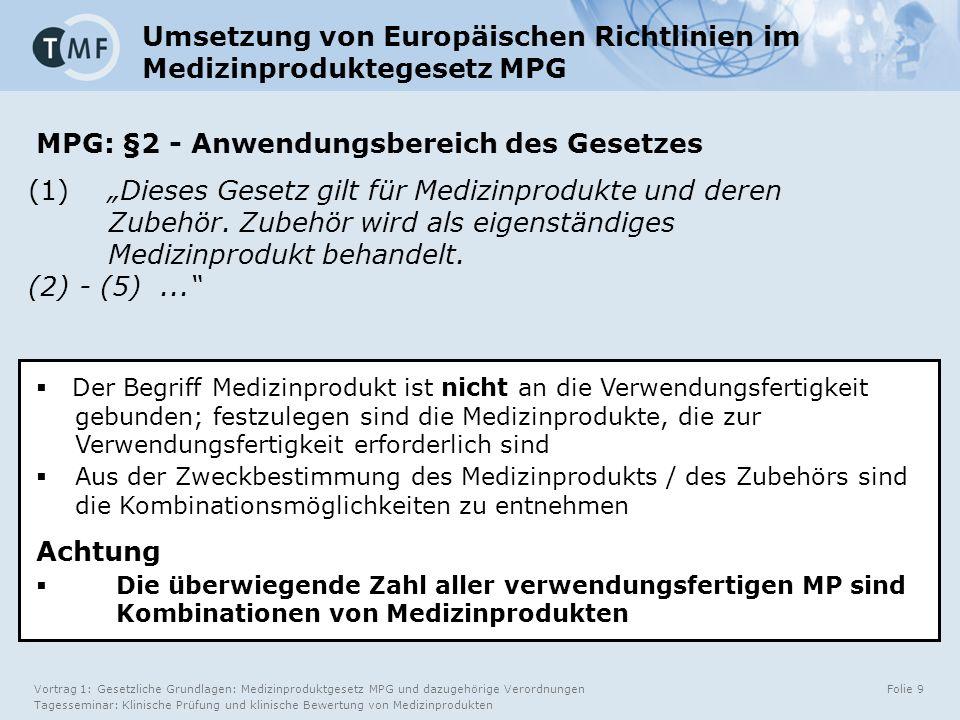 Vortrag 1: Gesetzliche Grundlagen: Medizinproduktgesetz MPG und dazugehörige Verordnungen Tagesseminar: Klinische Prüfung und klinische Bewertung von Medizinprodukten Folie 10 4.