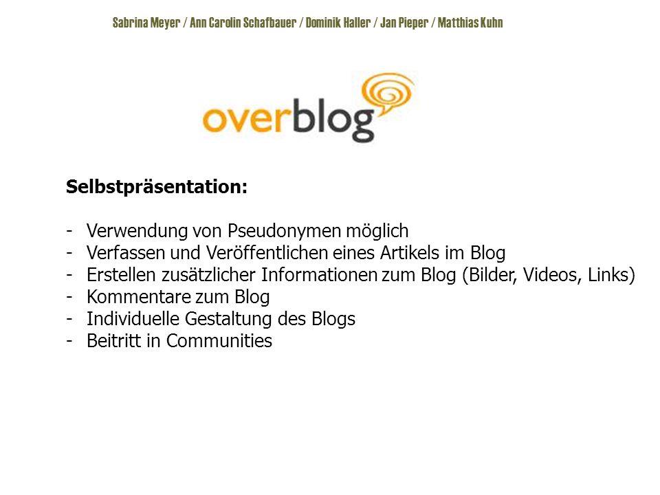 Selbstpräsentation: -Verwendung von Pseudonymen möglich -Verfassen und Veröffentlichen eines Artikels im Blog -Erstellen zusätzlicher Informationen zum Blog (Bilder, Videos, Links) -Kommentare zum Blog -Individuelle Gestaltung des Blogs -Beitritt in Communities