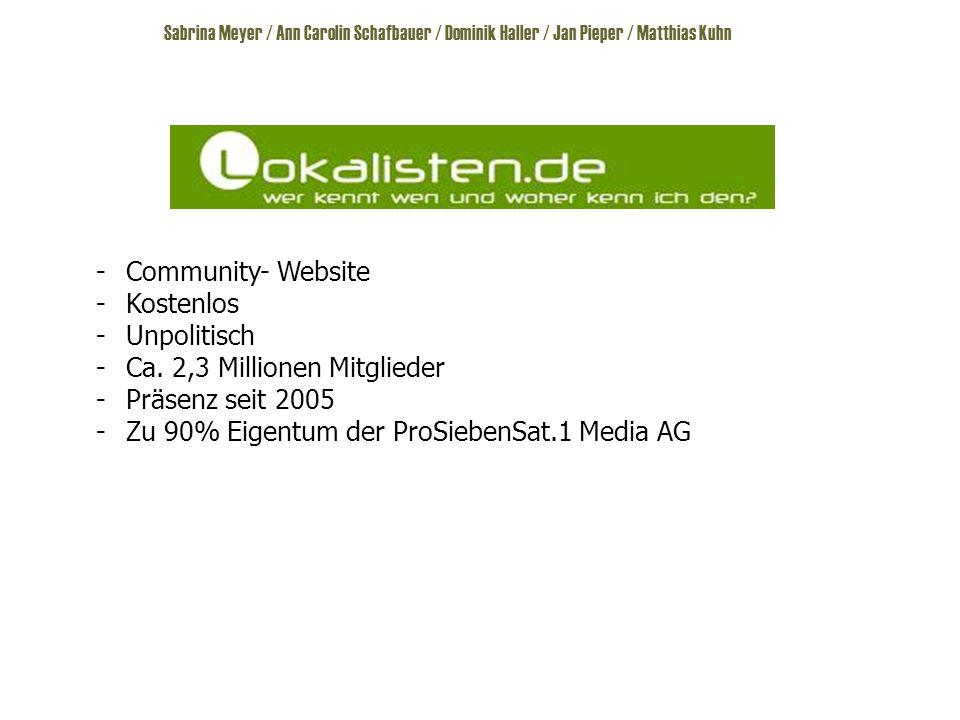 Sabrina Meyer / Ann Carolin Schafbauer / Dominik Haller / Jan Pieper / Matthias Kuhn -Community- Website -Kostenlos -Unpolitisch -Ca.