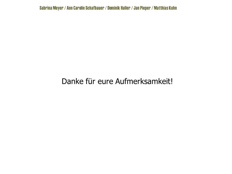 Sabrina Meyer / Ann Carolin Schafbauer / Dominik Haller / Jan Pieper / Matthias Kuhn Danke für eure Aufmerksamkeit!