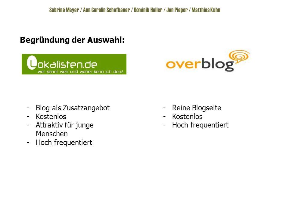 Begründung der Auswahl: -Blog als Zusatzangebot -Kostenlos -Attraktiv für junge Menschen -Hoch frequentiert -Reine Blogseite -Kostenlos -Hoch frequentiert