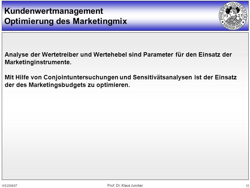 WS 2006/07 Prof. Dr. Klaus Juncker 12 Kundenwertmanagement Optimierung des Marketingmix Analyse der Wertetreiber und Wertehebel sind Parameter für den