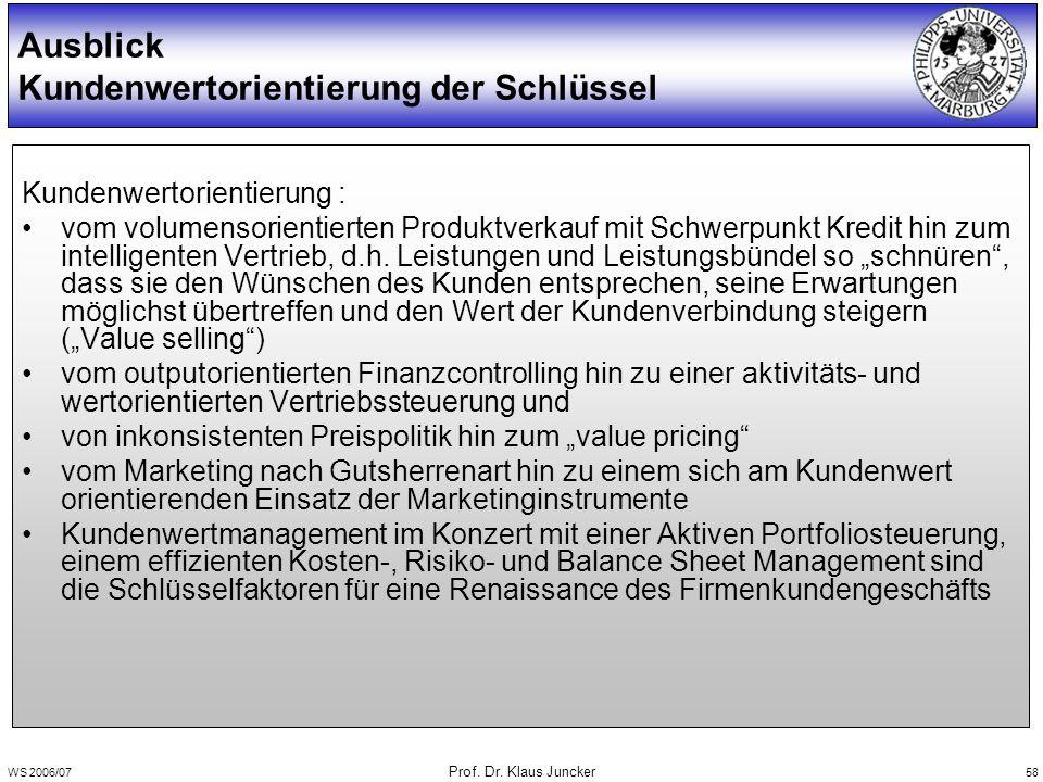 WS 2006/07 Prof. Dr. Klaus Juncker 58 Kundenwertorientierung : vom volumensorientierten Produktverkauf mit Schwerpunkt Kredit hin zum intelligenten Ve