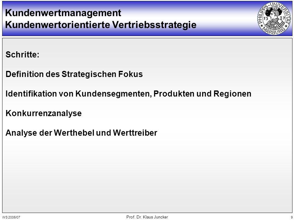 WS 2006/07 Prof. Dr. Klaus Juncker 9 Kundenwertmanagement Kundenwertorientierte Vertriebsstrategie Schritte: Definition des Strategischen Fokus Identi