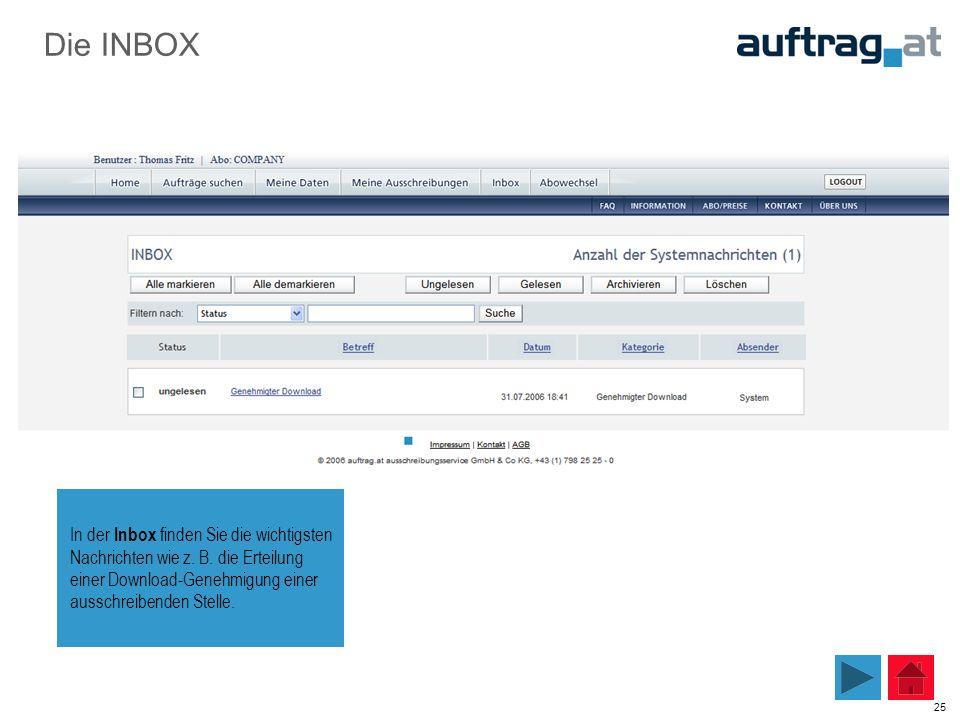 25 Die INBOX In der Inbox finden Sie die wichtigsten Nachrichten wie z. B. die Erteilung einer Download-Genehmigung einer ausschreibenden Stelle.