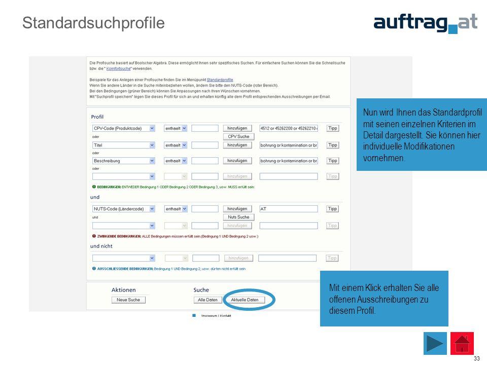 33 Standardsuchprofile Mit einem Klick erhalten Sie alle offenen Ausschreibungen zu diesem Profil. Nun wird Ihnen das Standardprofil mit seinen einzel