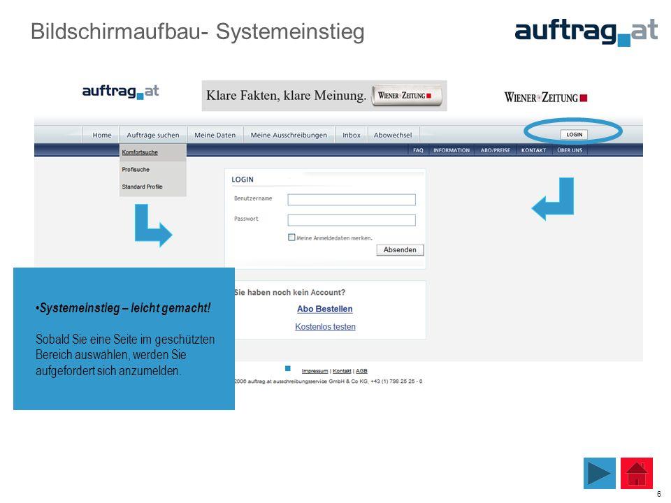6 Bildschirmaufbau- Systemeinstieg Systemeinstieg – leicht gemacht! Sobald Sie eine Seite im geschützten Bereich auswählen, werden Sie aufgefordert si