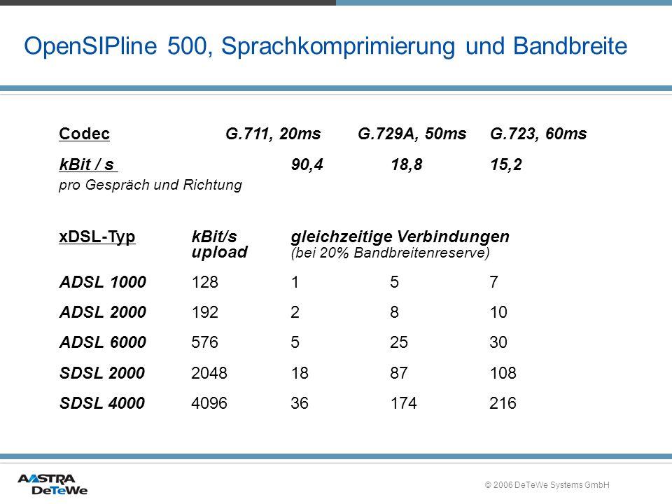 © 2006 DeTeWe Systems GmbH OpenSIPline 500, Sprachkomprimierung und Bandbreite CodecG.711, 20msG.729A, 50msG.723, 60ms kBit / s 90,418,815,2 pro Gespr