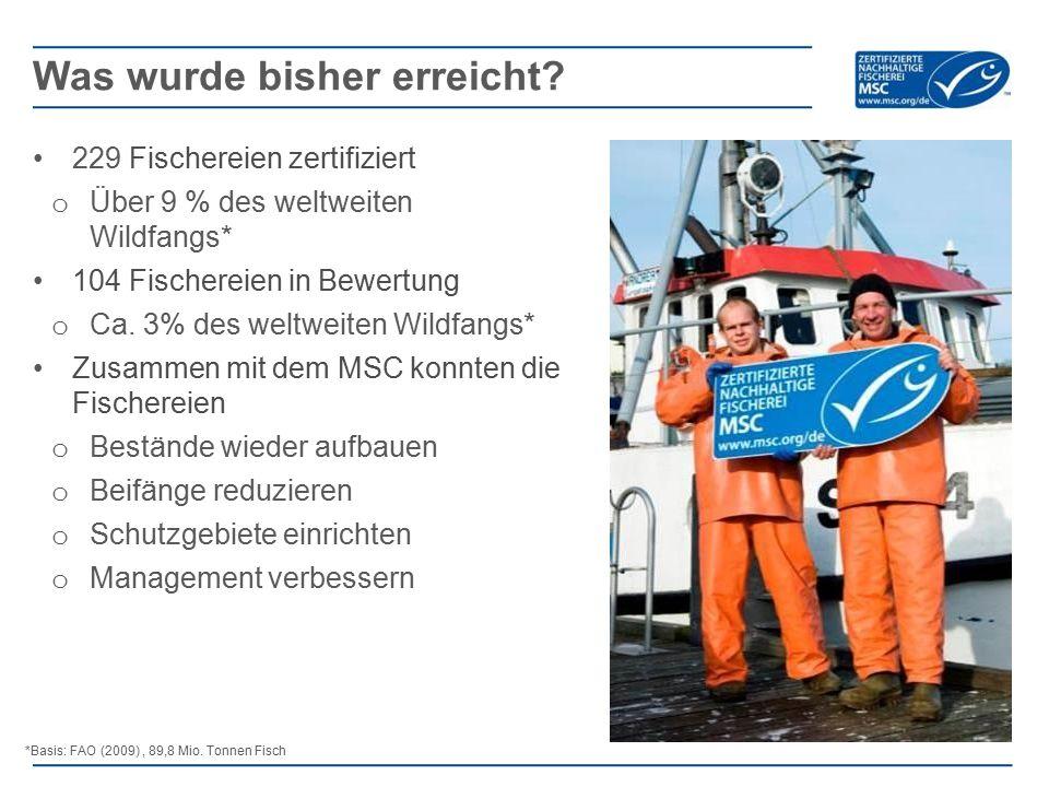 229 Fischereien zertifiziert o Über 9 % des weltweiten Wildfangs* 104 Fischereien in Bewertung o Ca.