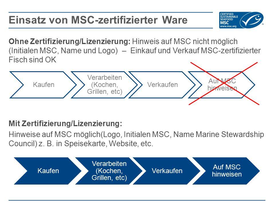 Ohne Zertifizierung/Lizenzierung: Hinweis auf MSC nicht möglich (Initialen MSC, Name und Logo) – Einkauf und Verkauf MSC-zertifizierter Fisch sind OK Mit Zertifizierung/Lizenzierung: Hinweise auf MSC möglich(Logo, Initialen MSC, Name Marine Stewardship Council) z.