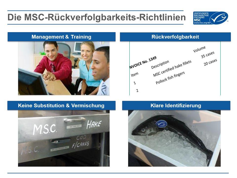 Die MSC-Rückverfolgbarkeits-Richtlinien Management & Training Rückverfolgbarkeit Keine Substitution & Vermischung Klare Identifizierung