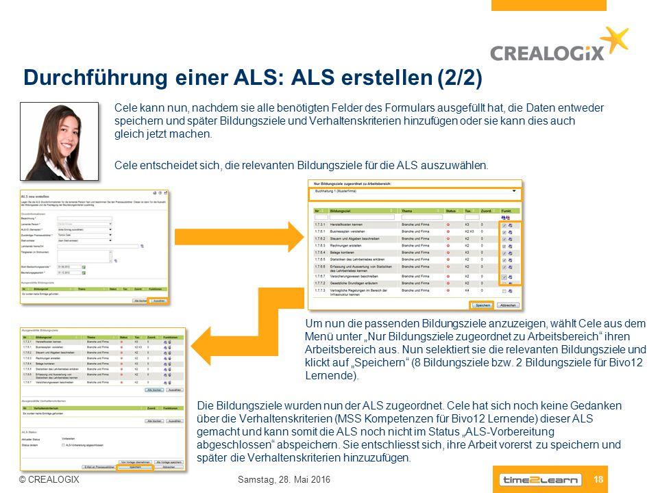 Durchführung einer ALS: ALS erstellen (2/2) 18 Samstag, 28.
