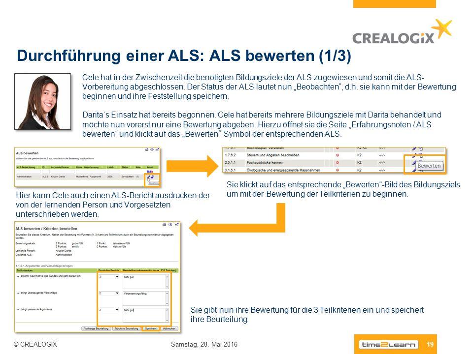 Durchführung einer ALS: ALS bewerten (1/3) 19 Samstag, 28.