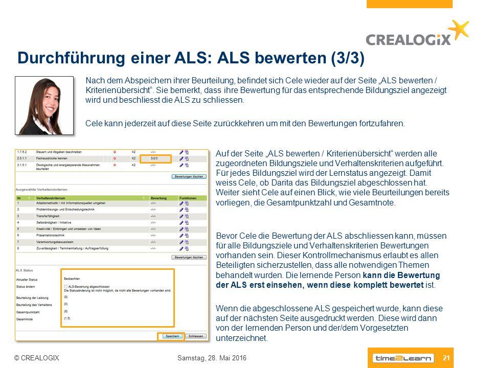 Durchführung einer ALS: ALS bewerten (3/3) 21 Samstag, 28.