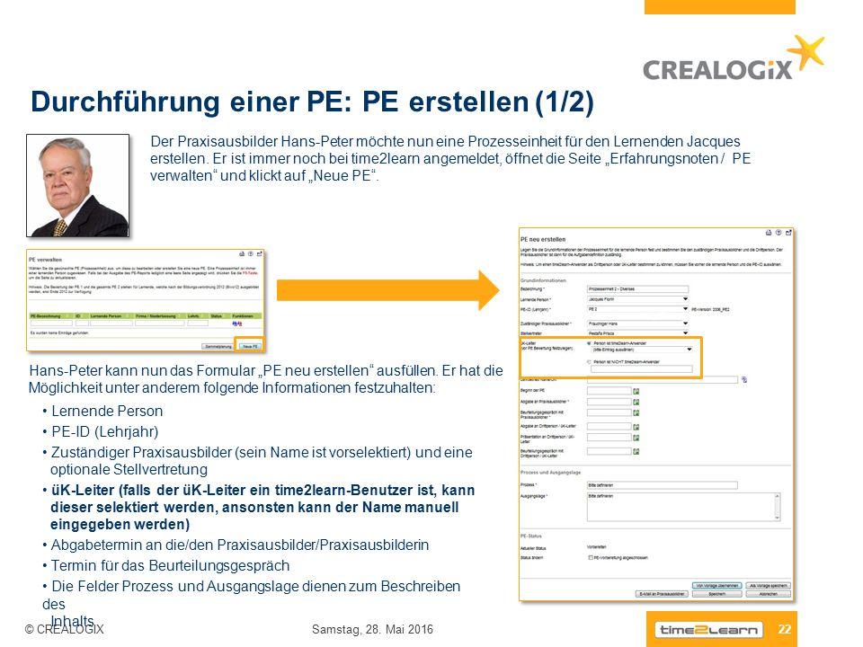 Durchführung einer PE: PE erstellen (1/2) 22 Samstag, 28.