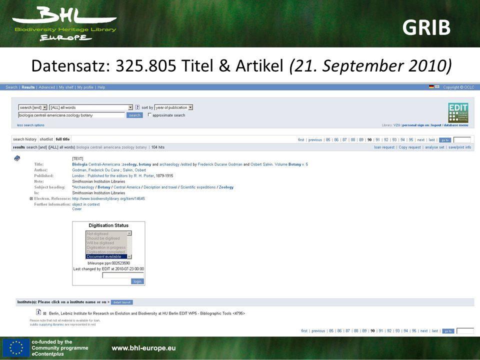 GRIB Datensatz: 325.805 Titel & Artikel (21. September 2010)