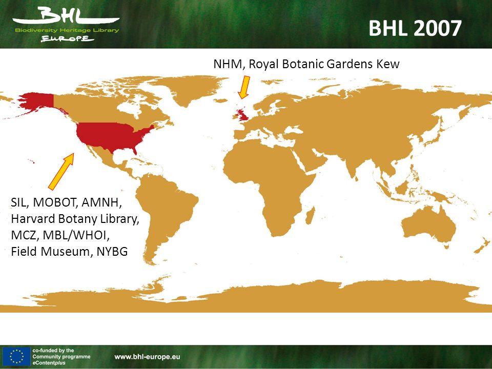 BHL 2007 SIL, MOBOT, AMNH, Harvard Botany Library, MCZ, MBL/WHOI, Field Museum, NYBG NHM, Royal Botanic Gardens Kew