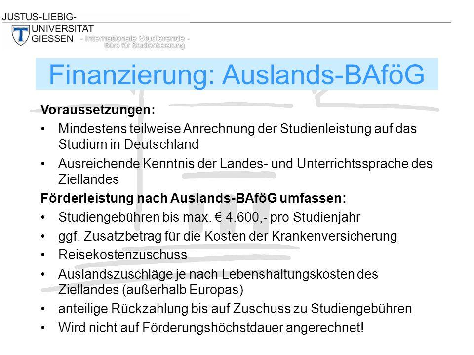 Voraussetzungen: Mindestens teilweise Anrechnung der Studienleistung auf das Studium in Deutschland Ausreichende Kenntnis der Landes- und Unterrichtss