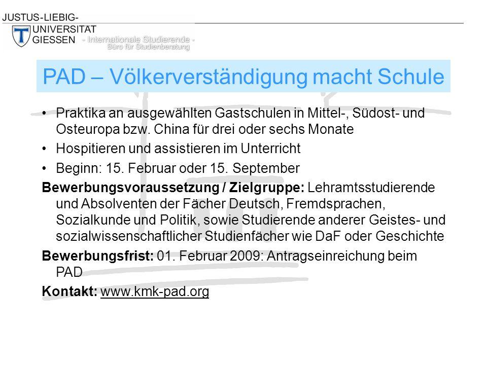 Praktika an ausgewählten Gastschulen in Mittel-, Südost- und Osteuropa bzw.