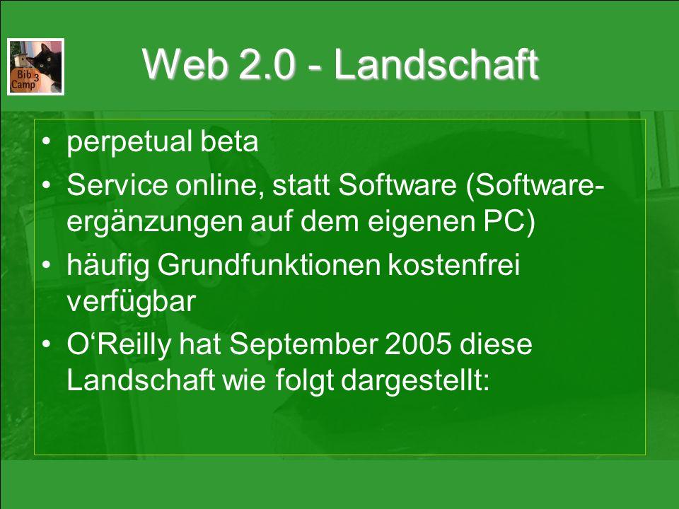 Web 2.0 - Landschaft perpetual beta Service online, statt Software (Software- ergänzungen auf dem eigenen PC) häufig Grundfunktionen kostenfrei verfügbar O'Reilly hat September 2005 diese Landschaft wie folgt dargestellt: