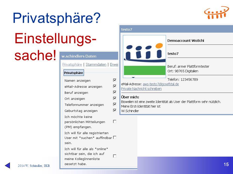 2014 W. Schindler, IKB Privatsphäre? 15 Einstellungs- sache!