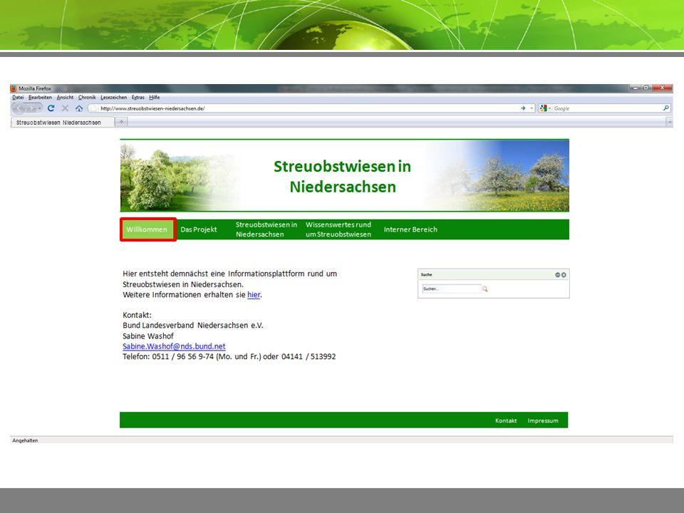 ImpressumKontakt Streuobstwiesen Niedersachsen  Anlass und Ziel des Projektes  Ansprechpartner  Förderer und Kooperationspartner  Infos zum aktuellen Stand  …