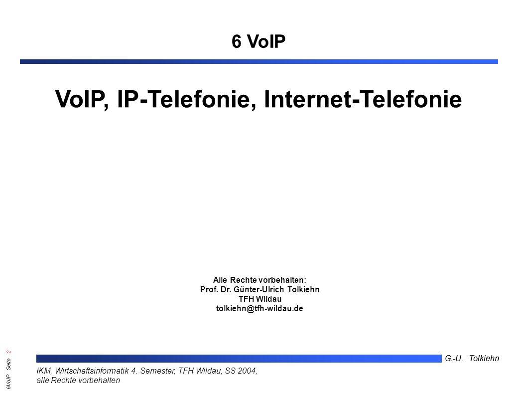 6VoIP Seite 22 G.-U.Tolkiehn IKM, Wirtschaftsinformatik 4.