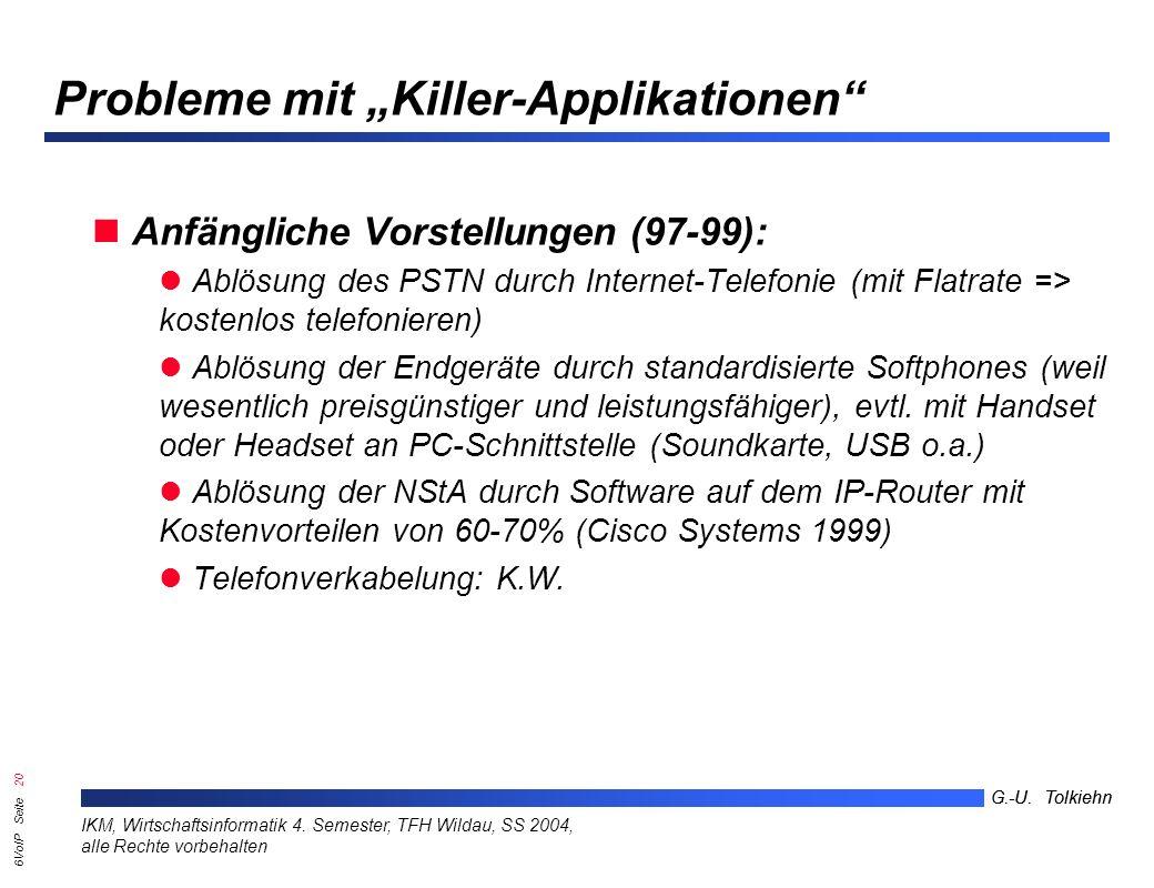 6VoIP Seite 19 G.-U. Tolkiehn IKM, Wirtschaftsinformatik 4.