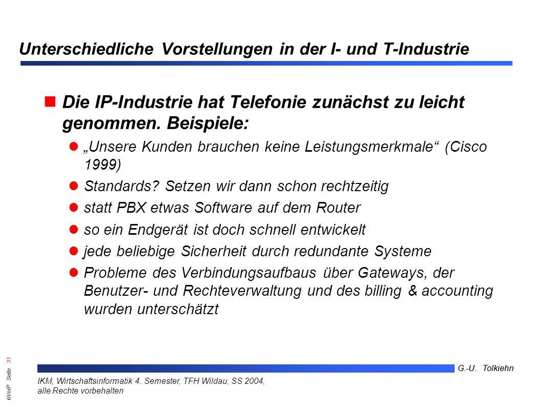 6VoIP Seite 30 G.-U. Tolkiehn IKM, Wirtschaftsinformatik 4.