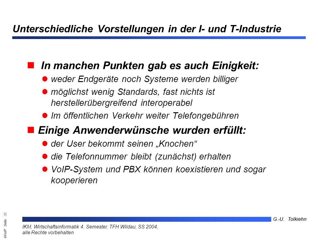6VoIP Seite 31 G.-U. Tolkiehn IKM, Wirtschaftsinformatik 4.