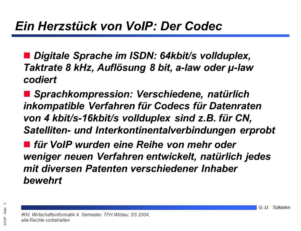 6VoIP Seite 38 G.-U.Tolkiehn IKM, Wirtschaftsinformatik 4.