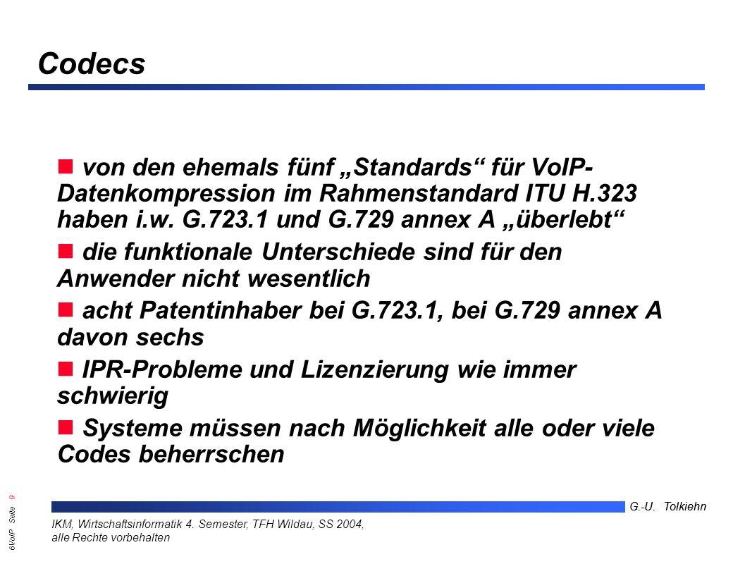 6VoIP Seite 8 G.-U. Tolkiehn IKM, Wirtschaftsinformatik 4.