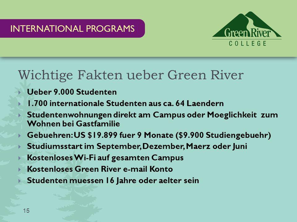Wichtige Fakten ueber Green River 15  Ueber 9.000 Studenten  1.700 internationale Studenten aus ca.