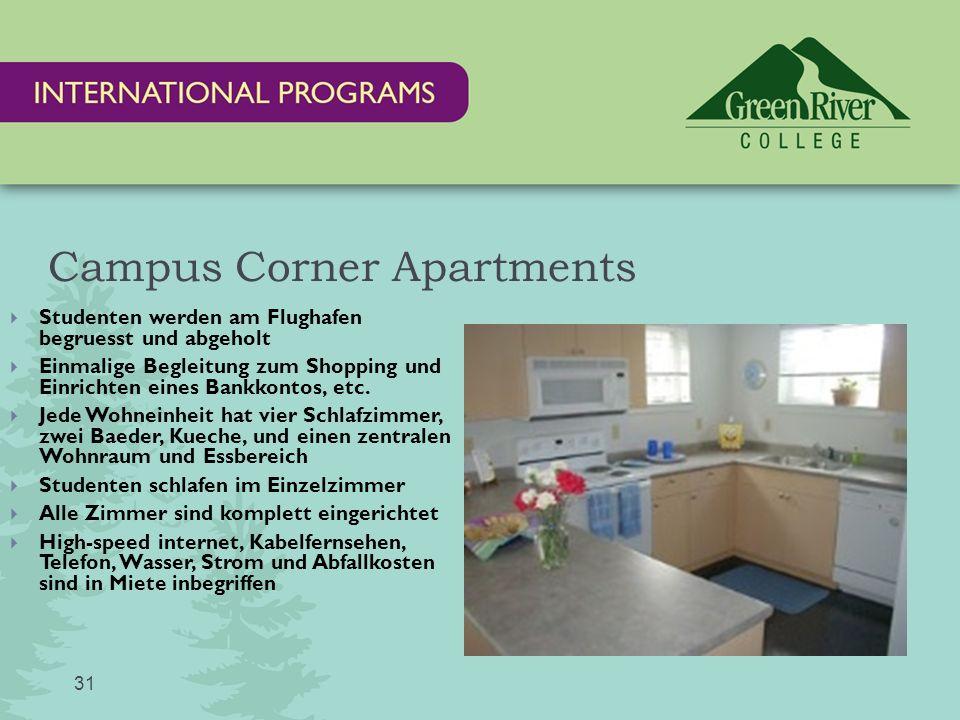 Campus Corner Apartments  Studenten werden am Flughafen begruesst und abgeholt  Einmalige Begleitung zum Shopping und Einrichten eines Bankkontos, etc.