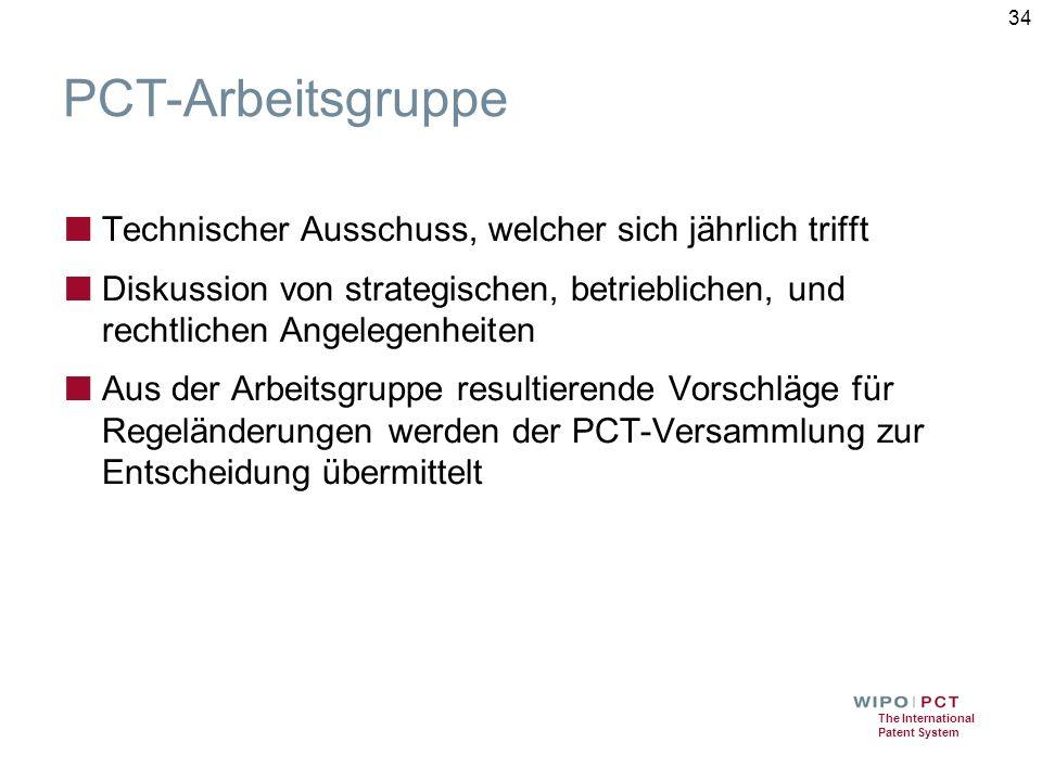 The International Patent System PCT-Arbeitsgruppe ■ Technischer Ausschuss, welcher sich jährlich trifft ■ Diskussion von strategischen, betrieblichen, und rechtlichen Angelegenheiten ■ Aus der Arbeitsgruppe resultierende Vorschläge für Regeländerungen werden der PCT-Versammlung zur Entscheidung übermittelt 34