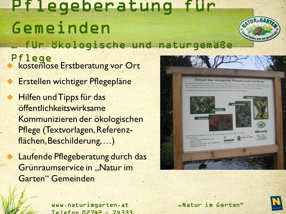 """www.naturimgarten.at """"Natur im Garten"""" Telefon 02742 - 74333  kostenlose Erstberatung vor Ort  Erstellen wichtiger Pflegepläne  Hilfen und Tipps fü"""