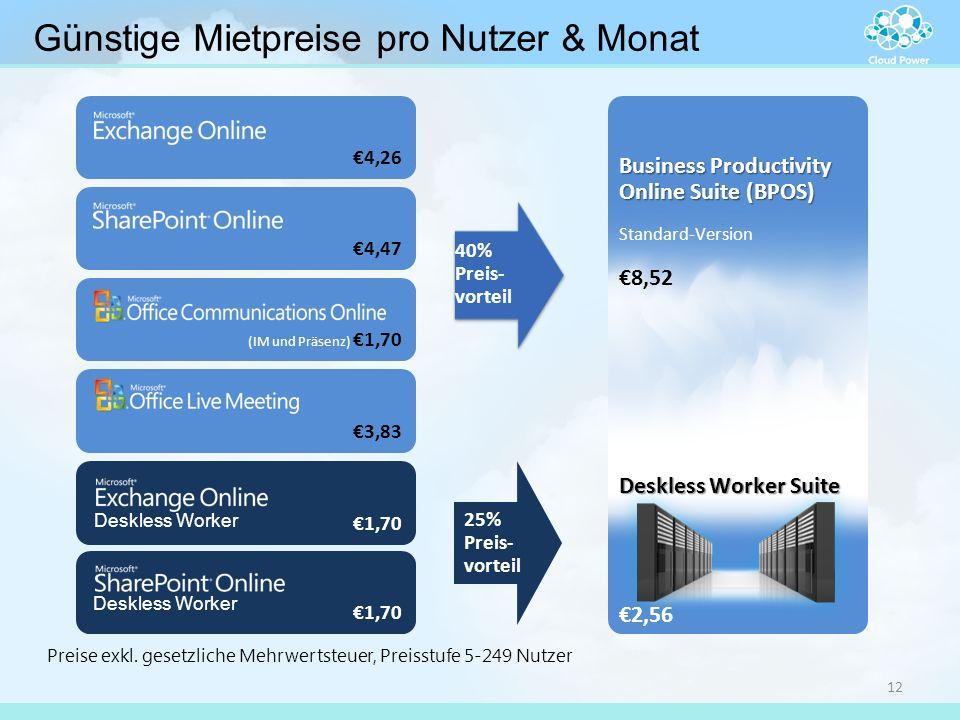 €4,26 (IM und Präsenz) €1,70 €3,83 €4,47 40% Preis- vorteil €1,70 25% Preis- vorteil Business Productivity Online Suite (BPOS) Standard-Version €8,52