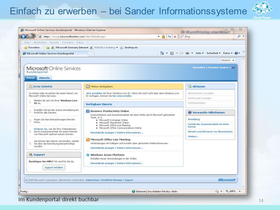 Im Kundenportal direkt buchbar Einfach zu erwerben – bei Sander Informationssysteme 14