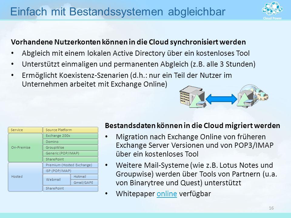 Bestandsdaten können in die Cloud migriert werden Migration nach Exchange Online von früheren Exchange Server Versionen und von POP3/IMAP über ein kos
