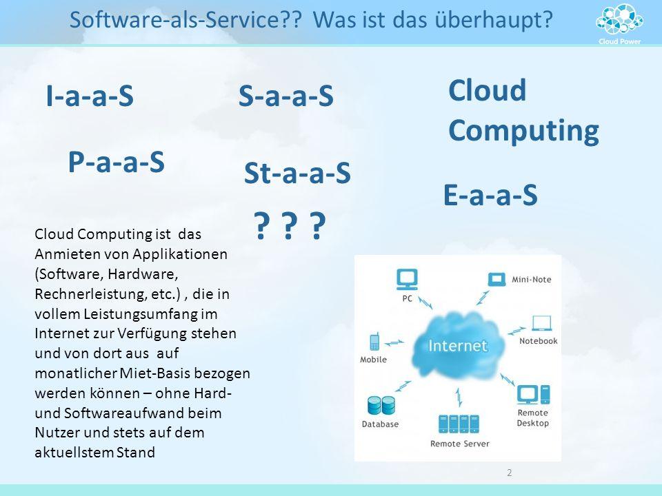 2 Software-als-Service?? Was ist das überhaupt? I-a-a-SS-a-a-S Cloud Computing P-a-a-S St-a-a-S E-a-a-S ? ? ? Cloud Computing ist das Anmieten von App
