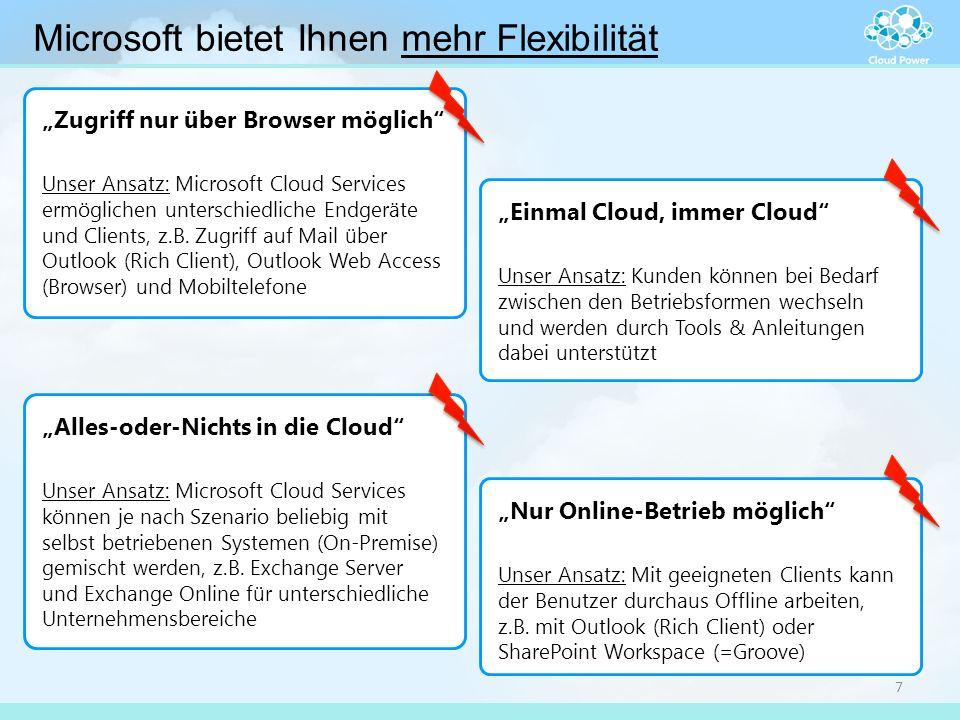 """Microsoft bietet Ihnen mehr Flexibilität 7 """"Zugriff nur über Browser möglich"""" Unser Ansatz: Microsoft Cloud Services ermöglichen unterschiedliche Endg"""