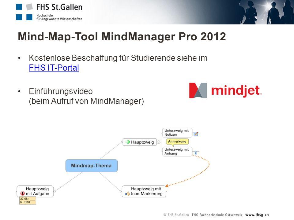 Mind-Map-Tool MindManager Pro 2012 Kostenlose Beschaffung für Studierende siehe im FHS IT-Portal FHS IT-Portal Einführungsvideo (beim Aufruf von MindManager)