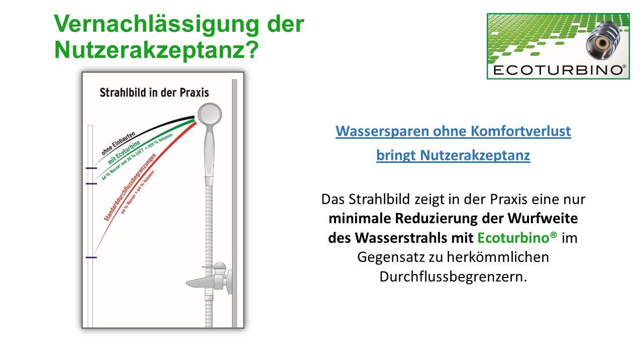 Wassersparen ohne Komfortverlust bringt Nutzerakzeptanz Das Strahlbild zeigt in der Praxis eine nur minimale Reduzierung der Wurfweite des Wasserstrah
