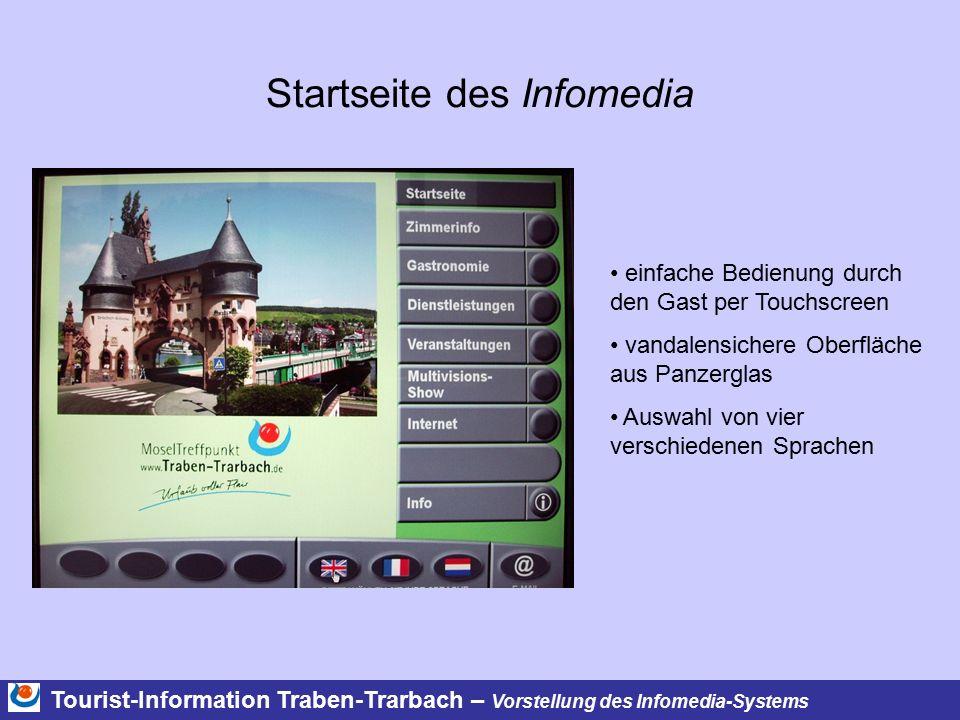 Tourist-Information Traben-Trarbach – Vorstellung des Infomedia-Systems Startseite des Infomedia einfache Bedienung durch den Gast per Touchscreen van