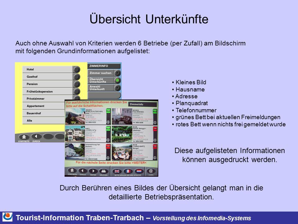 Tourist-Information Traben-Trarbach – Vorstellung des Infomedia-Systems Übersicht Unterkünfte Durch Berühren eines Bildes der Übersicht gelangt man in