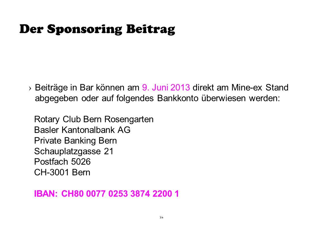Der Sponsoring Beitrag 16 ›Beiträge in Bar können am 9.