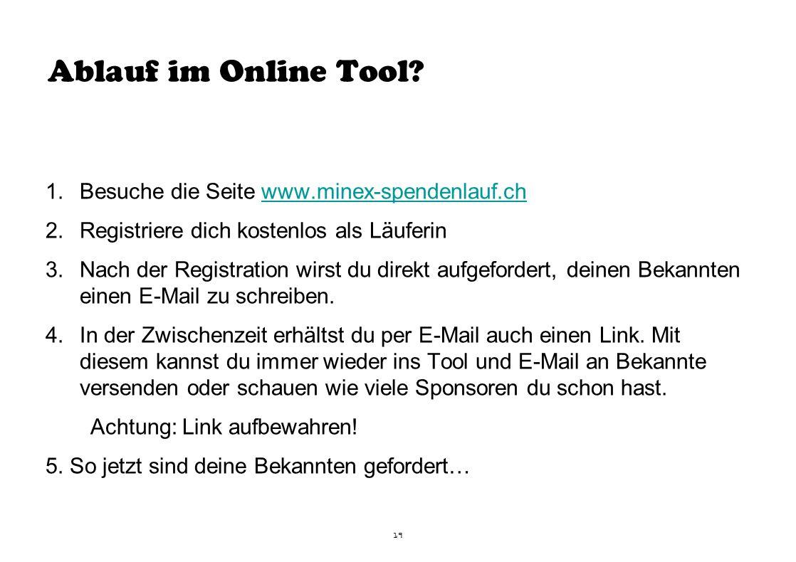 Ablauf im Online Tool.